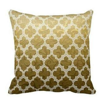 Gold brocade white quatrefoil Moroccan lattice trellis pattern throw