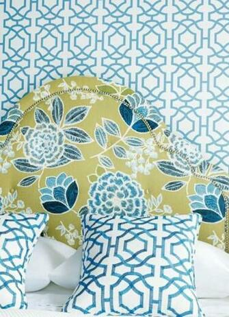 Alston Trellis Wallpaper in Blue in White Pillows in Alston Trellis