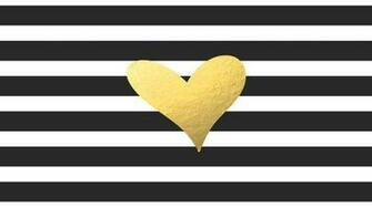 Black White Stripe with Gold Foil Heart Computer Desktop Wallpaper