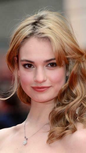 Beautiful smile blonde Lily James 720x1280 wallpaper