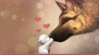 Valentines Day Dog Cat Love HD Wallpaper FullHDWpp   Full HD