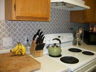 painted vinyl quatrefoil backsplash Kitchen Pinterest