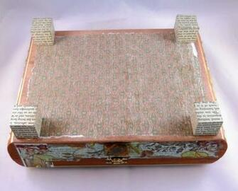 lid was covered with vintage wallpaper T he outside of the cigar box