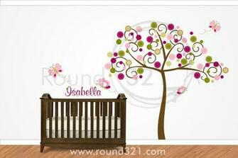 Tree with Butterflies and Personalized Name Wall Decal for