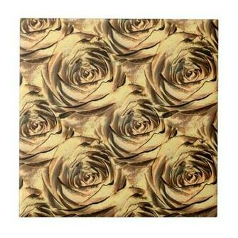 Bronze and Gold Rose Center Wallpaper Pattern Tile Zazzle