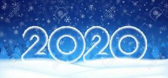 2020 Number Text Happy New Year Banner Winter Christmas Abstract