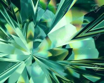 3d Abstract Emerald Green Crystal Background Faceted Glass Stock