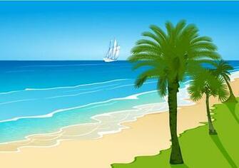 as cartoon beach landscape beach palm trees beach sailing waves vector