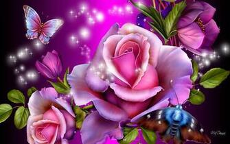 Roses and Butterflies HD Wallpaper Background Image 2560x1600