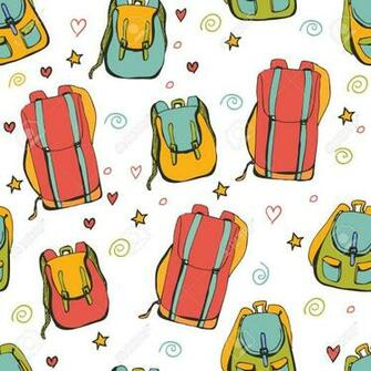 Vector Seamless Pattern Bright Backpacks Blue Red Yellow And