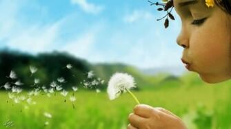 Little girl blowing a dandelion by RamonFelinto