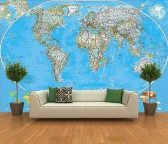 Self Adhesive World Map Decorating photo wall Mural wallpaper peel and