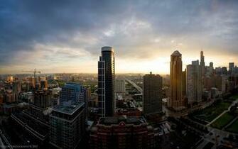 Wallpaper sunset skyscrapers USA Chicago Illinois