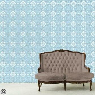 Removable Wallpaper  Victoria Tile  Peel Stick Self Adhesive Fabric