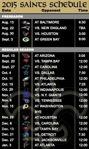 Saints schedule more favorable in 2015 than a year ago   SportsNOLA