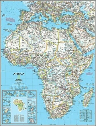 Classic Africa Map Wall Mural    Self Adhesive Wallpaper in Various