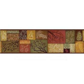 Sculpted Rustic Lodge Pinecone Swag Wallpaper Border Home