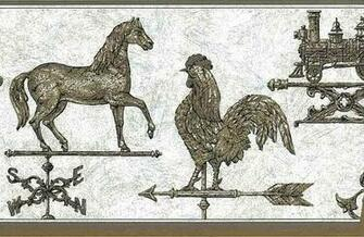 WEATHERVANE Wallpaper Border Horse Rooster Train Brown Gray VINTAGE