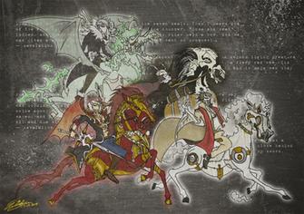 Four Horsemen Of The Apocalypse Wallpaper The four horsemen of the