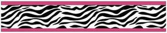 Zebra Print Wallpaper Border Pink Black White for Girls