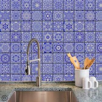 Removable Wallpaper  Cobalt Tiles   Peel Stick Self Adhesive Fabric