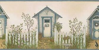 Cottage Outhouses Wallpaper Border   Rustic Country Primitive