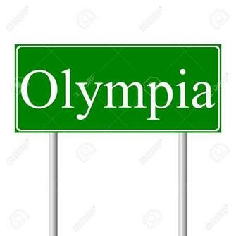 Olympia Green Road Sign Isolated On White Background Royalty