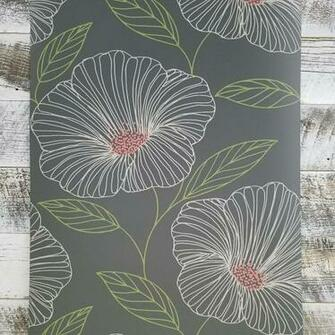 Mythic Charcoal Matte Grey Large Floral Farmhouse Boho Wallpaper