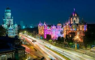 Wallpaper night lights home India Mumbai Station And The
