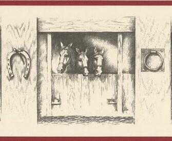 Vintage Black and White Horses in Stable Farmhouse Wallpaper