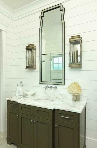 Taupe Washstand   Cottage   bathroom   Structures Building Company