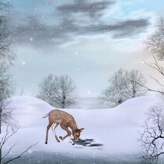 Cute Winter Background with Deer