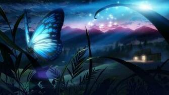 Butterfly eden grass night tree original fantasy wallpaper