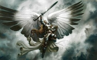 wings fantasy angel war anime art Wallpaper Anime Wallpaper